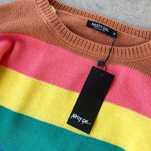 Nasty Gal Sweaters - Nasty Gal On the Bright Lines Sweater & Shorts Set